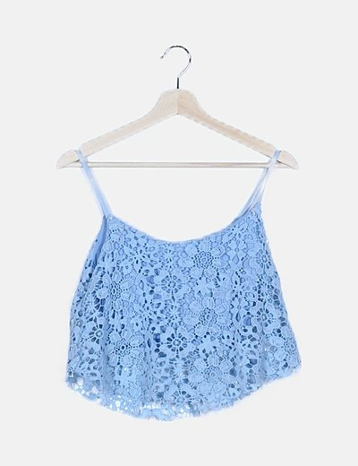 Blusa crochet azul
