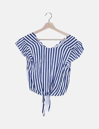 Blusa rayas azul marina nudo