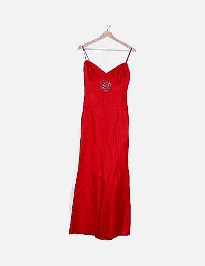 Vestido rojo satinado detalle strass