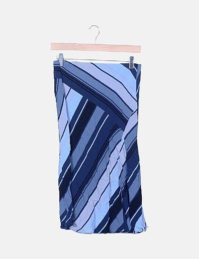 Falda azul de rayas