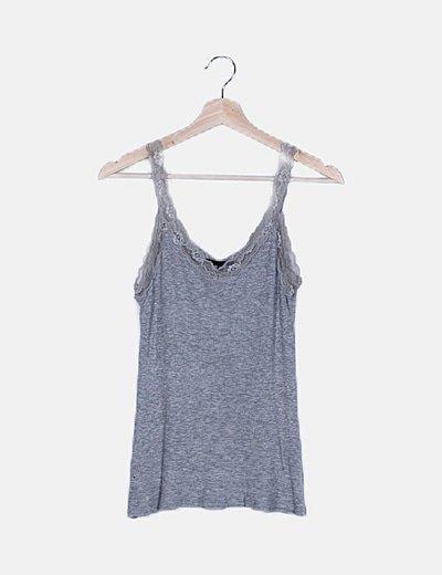 Camiseta canalé gris lencera