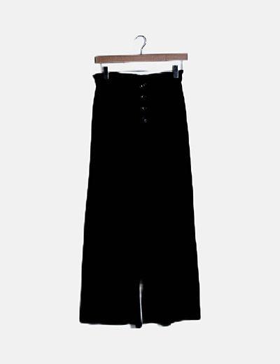 Pantalón canalé negro abotonado