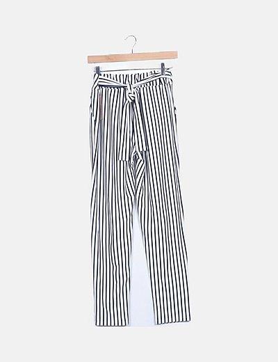Pantalón fluido navy con cinturón