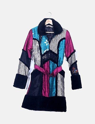 Abrigo paño multicolor