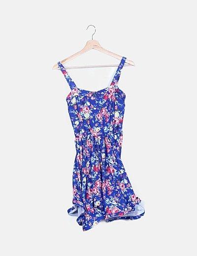 Vestido azul marino estampado floral