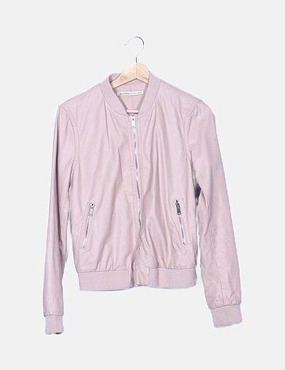 Bomber de polipiel rosa