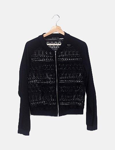 Bomber crochet negra