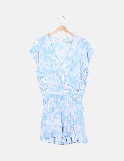 Vestido azul floral fluido