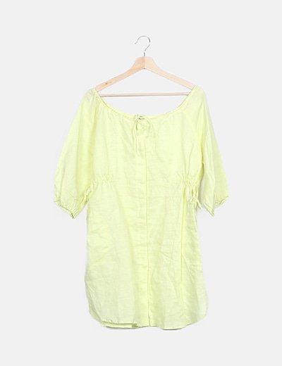 Vestido amarillo fluida lace up