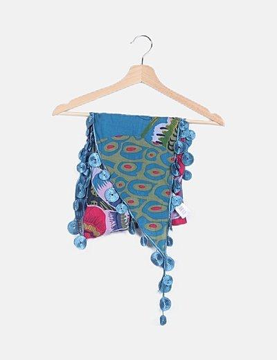 Foulard azul estampado multicolor