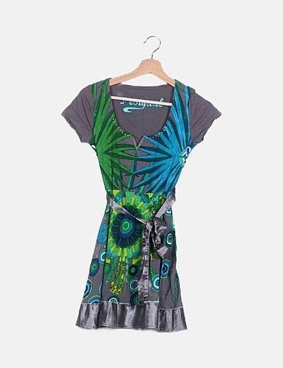 Vestido mini estampado combinado