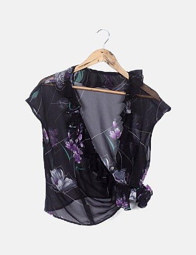 Blusa negra gasa floral