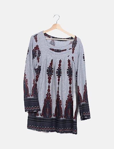 Vestido tricot gris estampado
