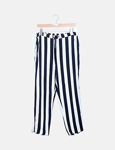 Pantalón bicolor de rayas