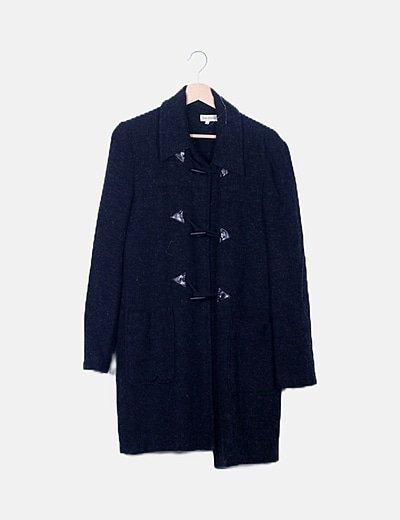 Abrigo negro jaspeado
