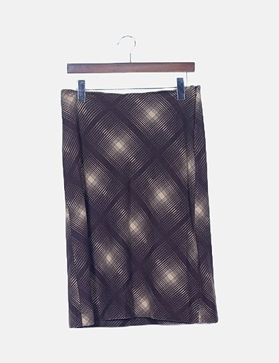 Falda midi marrón estampada