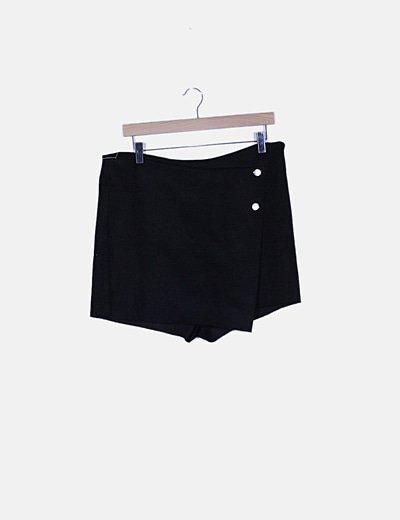 Faldapantalón negra texturizada