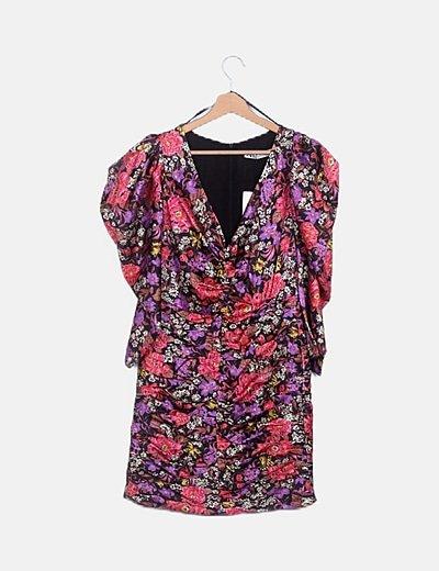 Vestido mini drapeado mangas abullonadas floral