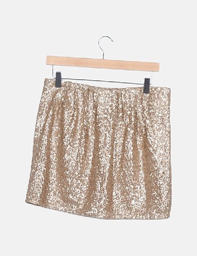 Falda mini lentejuelas doradas