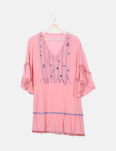 Vestido rosa adornos