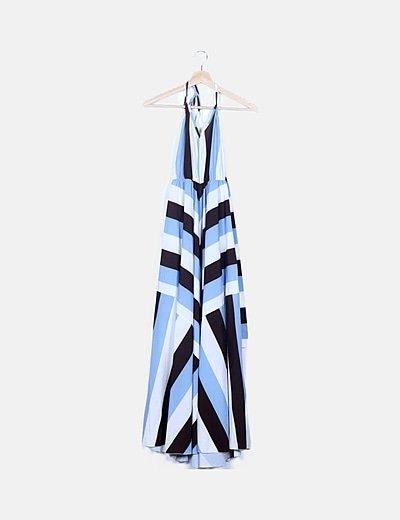 Maxi vestido tricolor
