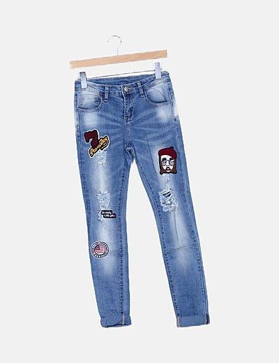 Pantalón denim azul pachwork