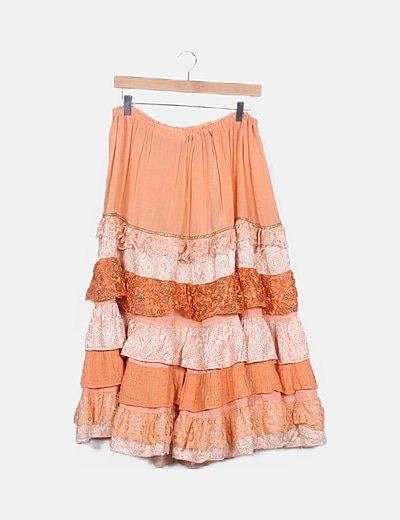 Falda naranja combinada detalles griltter