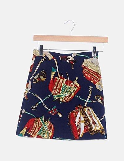 Falda multicolor satinada