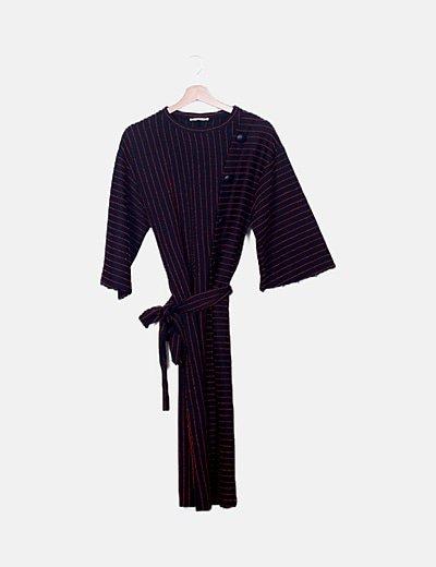 Vestido de punto bicolor de rayas