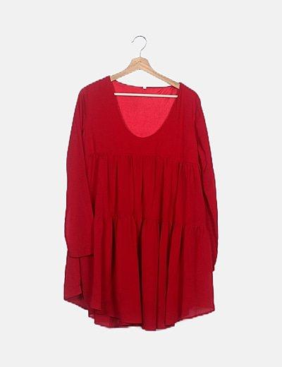 Vestido rojo fluido detalle volantes