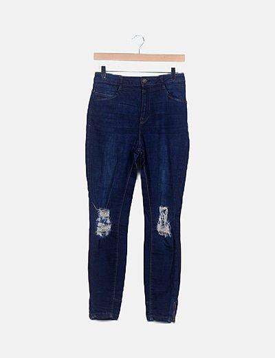 Pantalón denim pitillo azul marino ripped