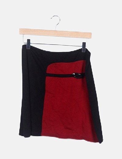 Falda mini bicolor elástica