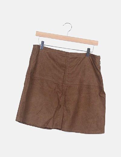 Falda mini marrón antelina