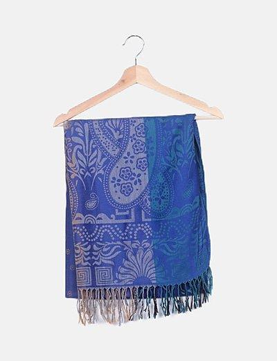 Bufanda azul marino desflecada