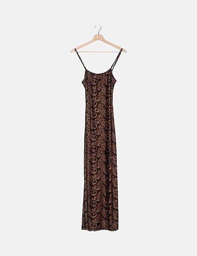 Vestido marrón estampado jacquard