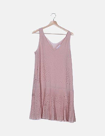 Vestido gasa rosa calado