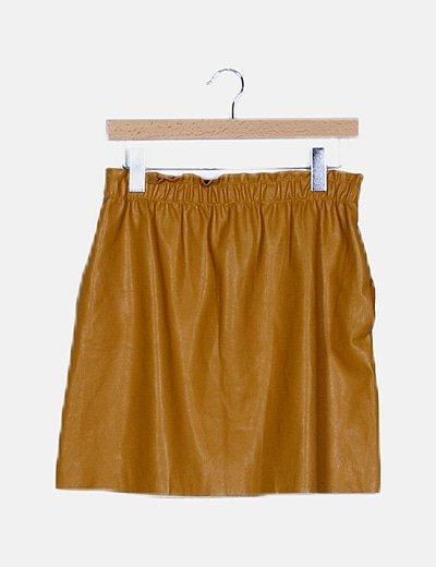 Mini falda polipiel mostaza