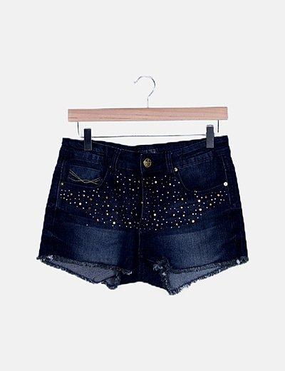Shorts denim strass