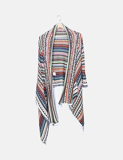 Chaqueta tricot multicolor étnica