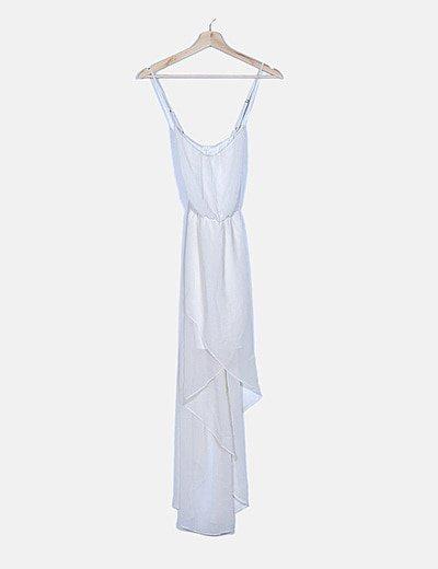 Vestido gasa tail hem blanco