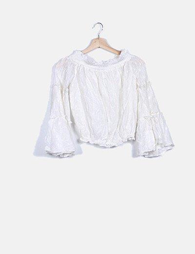 Blusa blanca bordado floral