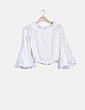 Blusa blanca bordado floral Zara