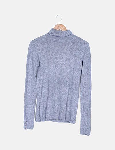 Jersey tricot gris cuello vuelto