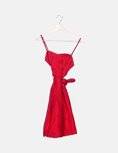 Vestido rojo satinado