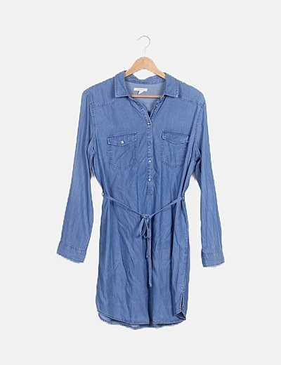 Vestido efecto denim detalle bolsillos