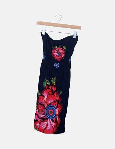 Vestido negro detalles florales
