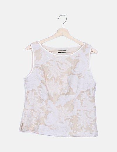 Camiseta crema detalles jacquard