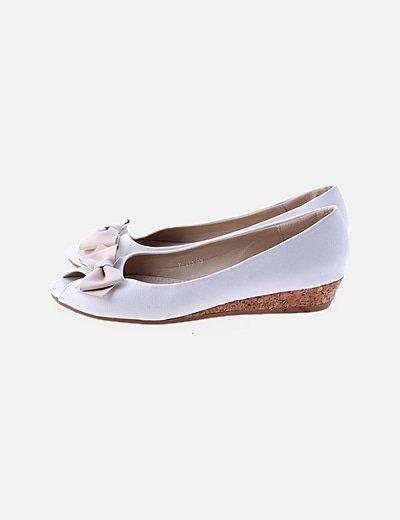Bailarina pep toe blanca detalle lazo
