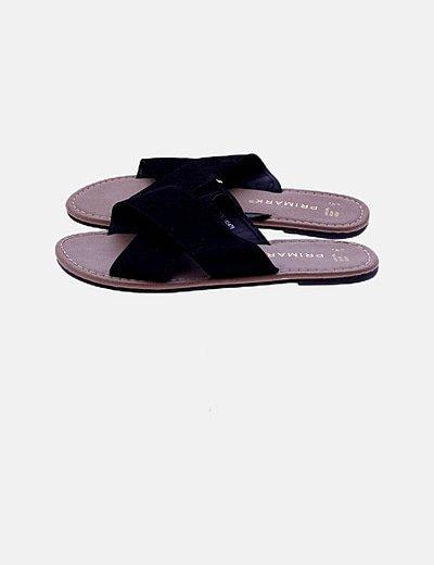 Sandalia pala tiras negra