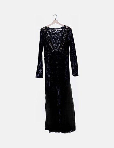 Vestido negro encaje argollas